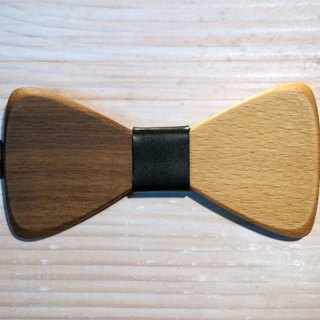 Natural Log Bow Tie - Beech + Walnut + Black Leather (Gift / Wedding / Newcomer / Valentine's Day)