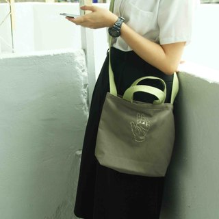 ◄ ► zero sign language // Hey - Hand embroidered canvas bag