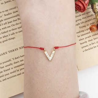 *Le Bonheur Line Happiness Line*925 sterling silver plated V-shaped rhinestone victory / red line bracelet Marriage line old hand rope single diamond temperament noble