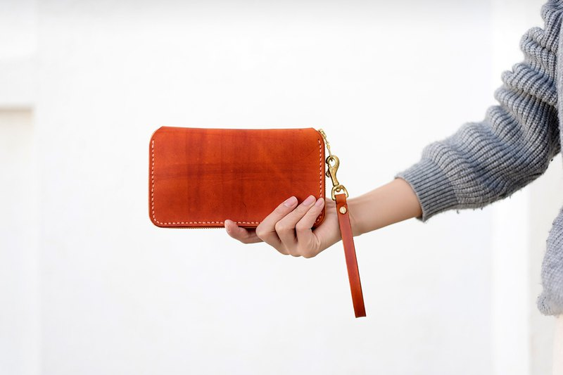 [Tangentialism] ★ back to nature ★ large-capacity leather hand-vintage zipper purse lady long folder clutch