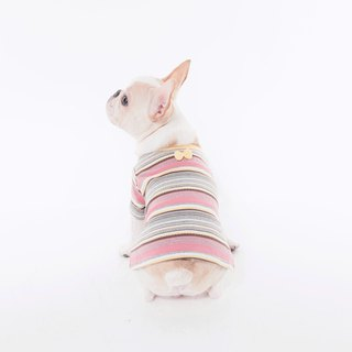 Small Nerd Striped Jacquard Top - Goose Yellow Bullfighting Bull Dog Clothes Pet Clothes Dog Clothes