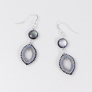 Mother of pearl shell marquise earrings, black silver, silver 925, 389