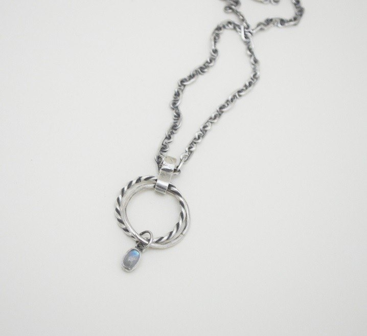 Rope Series‧Double Rings‧Moonstone‧Silver Necklace