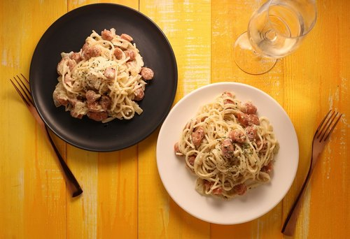 German sausage white sauce spaghetti (two copies) - DIY ingredients combination