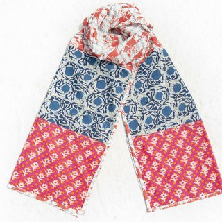 Hand-woven pure silk scarves handmade wood engraved plant dyed scarves grass wood dyed cotton scarves - blue dyed vine forest