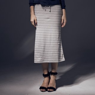 Fishtail Stripe Strap Slim Long Skirt
