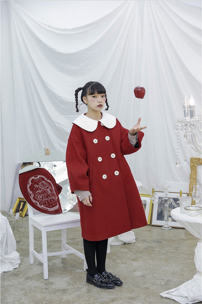 [The Wizard of Oz] Good Witch Berry Red Silhouette Fur Coat