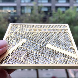 Bronze Glass Coaster--Keelung Map