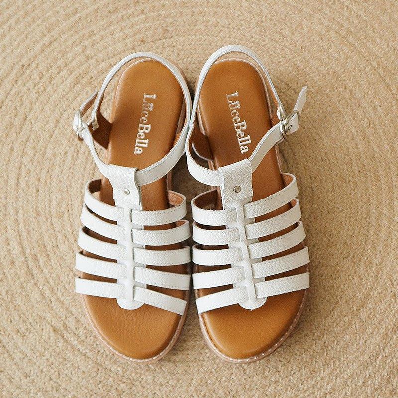 【五線譜】全真皮魚骨羅馬涼鞋-白色