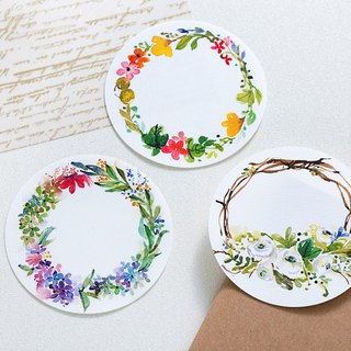 10cm watercolor wreath large sticker (can be written / 3 optional)