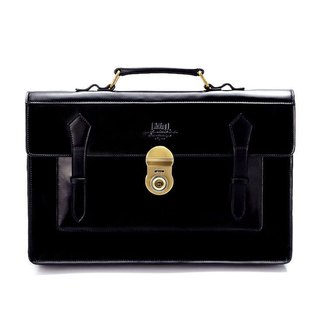 Full black leather briefcase - large - gold buckle