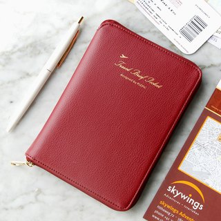 PLEPIC stylish light zipper passport package - Burgundy red, PPC93730
