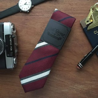 The GENT Maroon Red Lightning Stripe Neck Tie