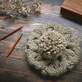 Thick needle twist detachable ball knit wool beret - khaki