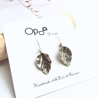 Ops Silver earrings-葉片/手工/獨特/純銀/耳環