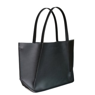 Canaly leather tote bag with zip /Black