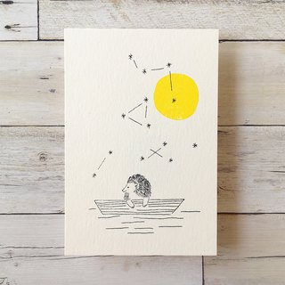 Free Shipping - Mimeograph 12postcard package - Moon and Hedgehog T32