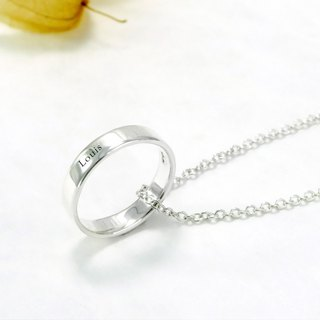Custom Ring - Men's 4mm Flat Lettering Text Name Silver Ring Necklace