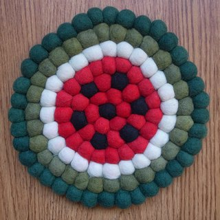 Potholder, Trivet, Pan Coaster, Pot holder, Felt ball Trivet Round Watermelon