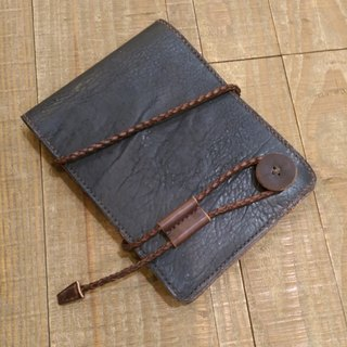 Handmade hand-dyed leather notepad (free printing, embroidered words)