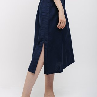 Navy Blue A-line linen skirt with side slit