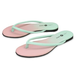Super soft wear-resistant leather flip flops colorful colorful series fresh green lining no gravity insole ultra comfortable and rainy weather can wear