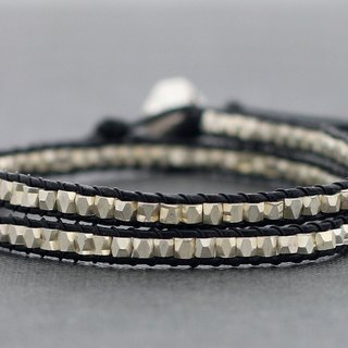 Leather Wrap Bracelets Faceted Silver Glitter