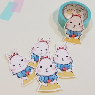 Matte texture sticker / rabbit princess (small sticker) into five