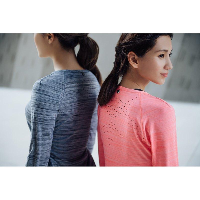 【MACACA】fit柔韌長袖訓練衣 - BRT3292 粉桔麻花