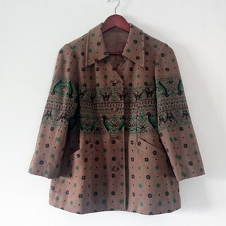 """Mountain Happy Bird"" - vintage - sweater coat"