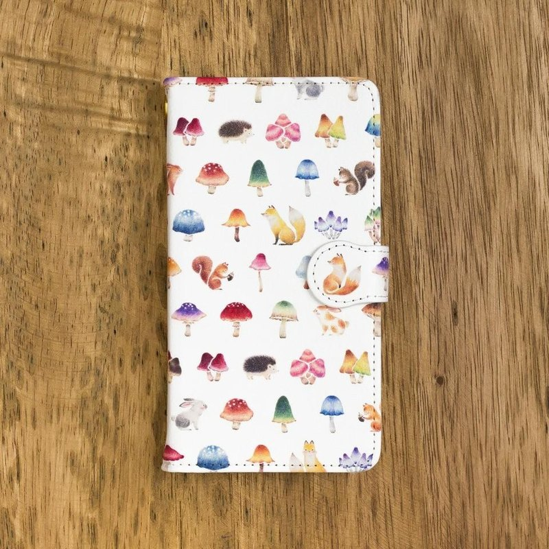 "Fragments of a picture book. Handbook type smart case ""Mushrooms forest animals"" TSC - 241"