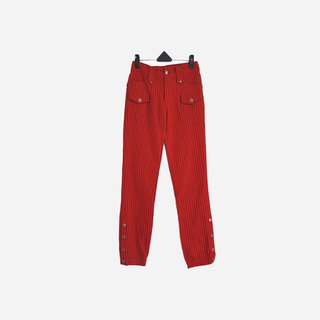 Discolored vintage / striped red denim trousers no.636 vintage