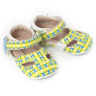 Retro plaid bubble series blue and green fun small Lingge
