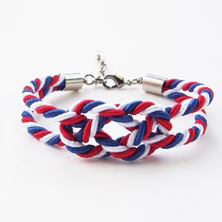 Red/white/blue  infinity knot rope bracelet
