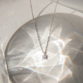 Fine Single Diamond Silver Necklace - Sterling Silver / Rose Gold / 18K Gold