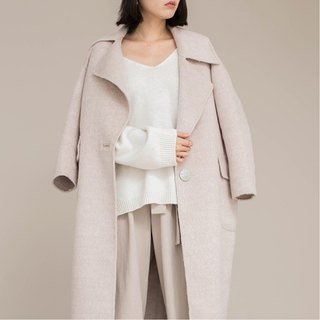Cream apricot soft alpaca hair + wool fabric double sided can wear a buckle lap collar silhouette coat jacket