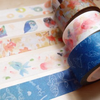 Watercolor illustration paper tape three roll set
