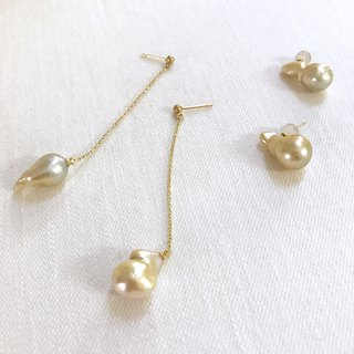 Choose Nanyang Baroque Pearl Earrings (Gold)