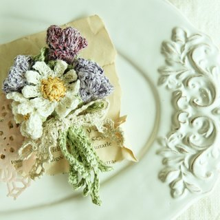 Small Daisy Pea Flower Purple Bouquet Brooch Japanese Twine Weave Heart Gift Birthday Gift