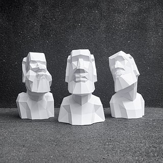3D Paper Models_Moai Images 3 Pieces Set_ DIY Kits_手作组合