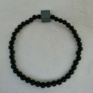 BR0384 - Natural Gemstone Bracelet - Design and Manufacture - Natural Black Onyx and Iron Ore