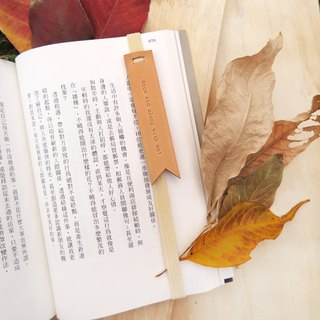 "Original handmade leather bookmark / bookmark with - ""specified text style merchandise"" <Grow old along with me!>"