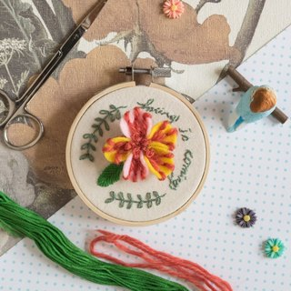 "3D Handmade Embroidery Flower Hoop Art Gift - ""Spring is coming"""