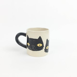 Nice Little Clay Mug Cup_Black Cat Head 0133-01