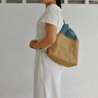 [Washed kraft paper X canvas] cotton rope shoulder Messenger bag * vintage blue
