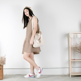 Beige Stripe Linen Tote Bag