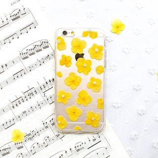 满满 黄 绣球花 • Hydrangea Handpressed Flower Phone Case