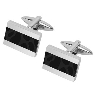 Stainless Steel Two Tone IP Black Cufflinks