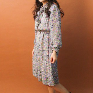 Vintage Autumn Winter Sweet Cute Purple Flower Floral Long Sleeve Vintage Dress Vintage Dress