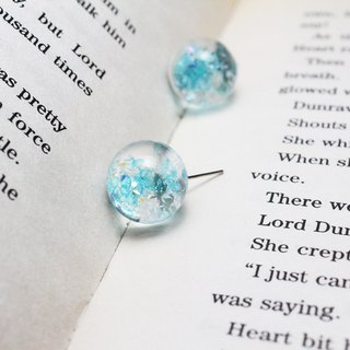 Glass ball drop earrings - fish water shimmer